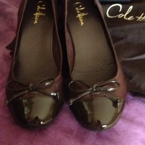 Cole Haan Chocolate brown leather ane patent brown leather Wedges