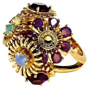 Coach COACH~TONY DUQUETTE GOLD TONE BOUQUET CRYSTAL FLOWER RING NWT~Size 6~95913~Limited Edition