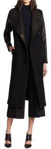 Theory Duster Leather Cashmere Virgin Wool Coat