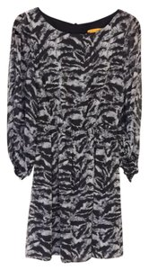 Alice + Olivia short dress Black/grey Animal Print Zebra on Tradesy