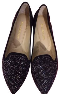 Enzo Angiolini Smoking Shoe Black Sparkle Flats