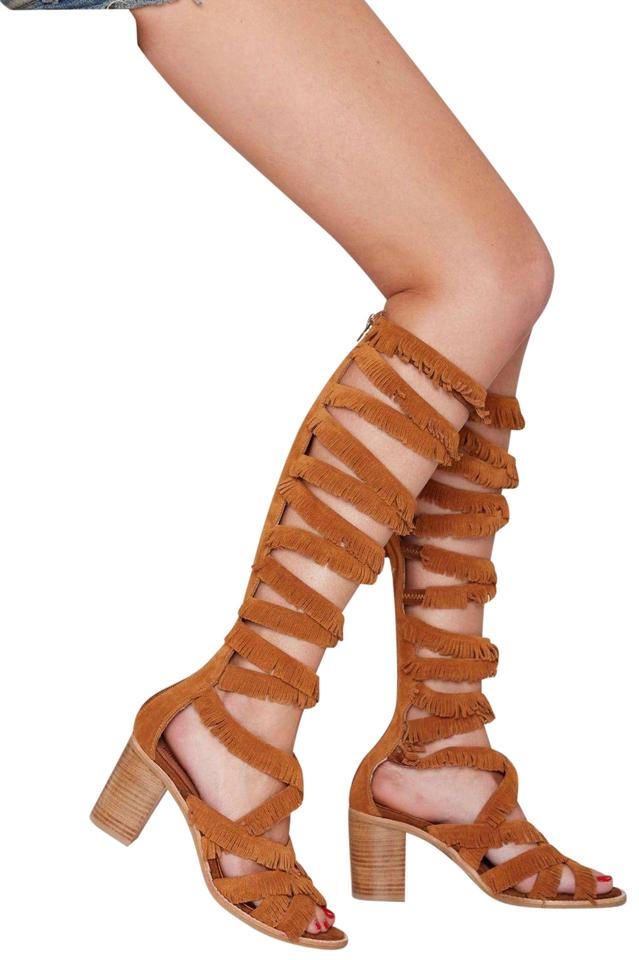 a0642981d Jeffrey Campbell Brown Womens M Enyo Fringe Gladiator Boots/Booties ...