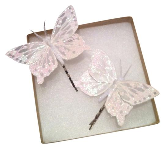 White Glitter Feather Butterfly White Glittery Feathered Butterfly on silver bobby pin