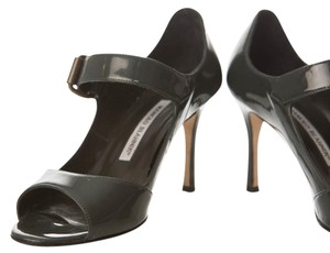 Manolo Blahnik Patent Patent Leather Grey Gray 6.5 Mary Jane/ FREE same day ship / Pumps