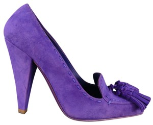 Saint Laurent Tassel Suede Jewel Tone Laofer Structured Purple Pumps