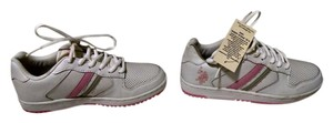 U.S. Polo Assn. New Never Worn Size 6.5 White with Pink detail and a Pink and Grey stripe Athletic
