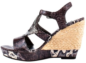 Not Rated Snake Print Charcoal/Brown Wedges