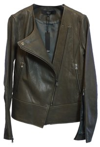 Tibi Leather Asymmetrical Distressed Leather Jacket