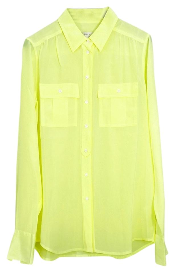 ed9fe10113797 J.Crew Neon Yellow Tall Blythe In Silk Blouse Size 2 (XS) - Tradesy
