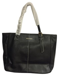 Cole Haan Leather Tote in Black/Ivory