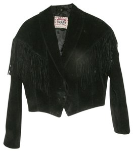 Alder Ladies Genuine Leather Suede Fringe Western Motorcycle Coat Leather Jacket