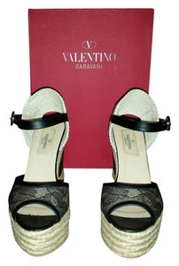 Valentino Black Lace Wedges