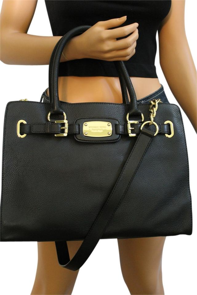 cc942d4a9f ... Michael Kors Gold Hardware Mk Large Hamilton Pebbled Leather Mk Black  Tote in .