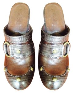 Michael Kors Boho Studded Brass Boho Chic Chocolate Brown Mules