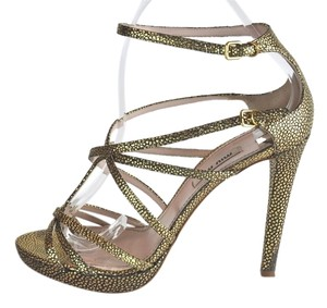 Miu Miu Leather Strappy Platform Size 37.5 Gold and Black Sandals