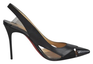 Christian Louboutin Air Chance 100 Leather And Suede Slingback Size 37.5 Black Sandals