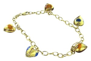14K SOLID YELLOW GOLD MURANO GLASS HEART ITALY BRACELET LINK ITALIAN 6.2 GRAMS