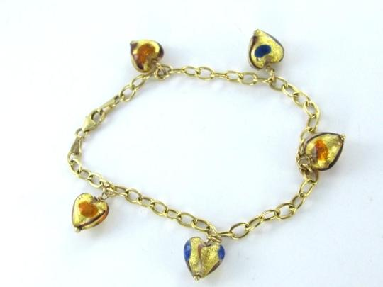 Other 14K SOLID YELLOW GOLD MURANO GLASS HEART ITALY BRACELET LINK ITALIAN 6.2 GRAMS