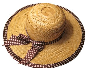 Staw summer hat New Straw hat, Maroon bow with white dots. Cute