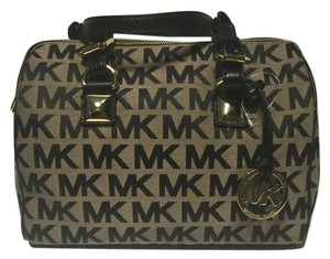 Michael Kors Grayson Jacquard Signature Satchel in Beige Black Black
