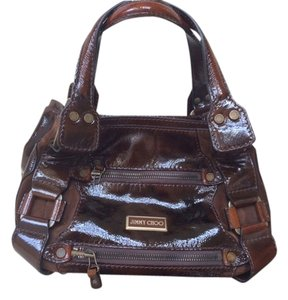 Jimmy Choo Leather Patent Leather Suede Tote in Luxe Cognac