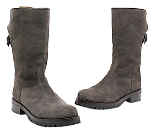 Sartore Suede Lace Up Mid Calf Gray Boots