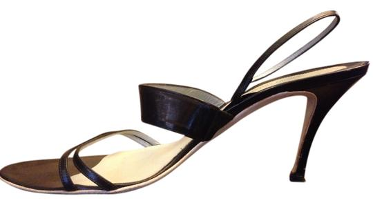 Giorgio Armani Leather High Heels Italy Black Sandals