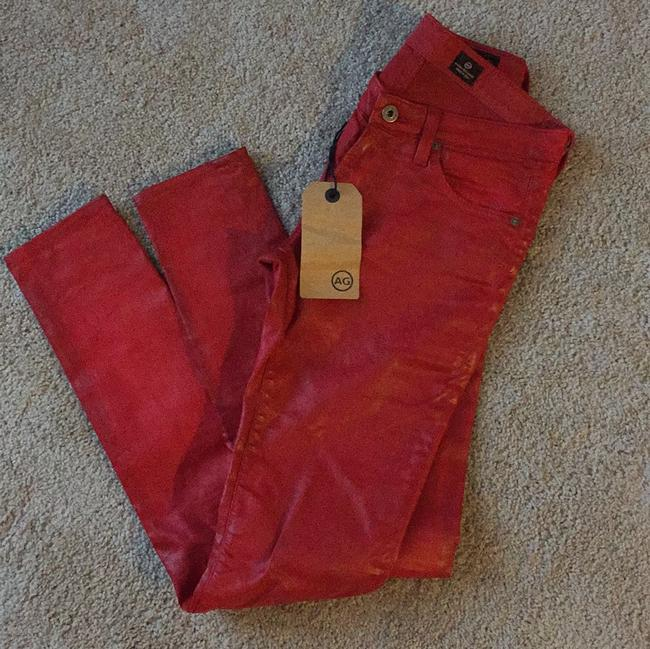 Item - Red Coated Skinny Jeans Size 26 (2, XS)
