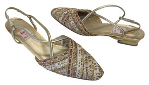 Ramon Tenza Good Condition Leather Sole Size 8.00 M Gold, Beige Sandals