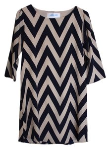 London Blue short dress Cream and Navy Chevron on Tradesy