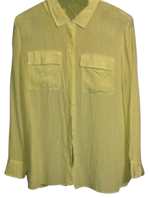 Item - Yellow Button-down Top Size 12 (L)