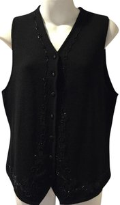 Chaus Beaded Wool Acrylic Button Down Shirt Black