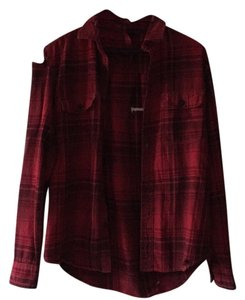 Nasty Gal Vintage Vintage Flannel Fall Classics Distressed Button Down Shirt Red