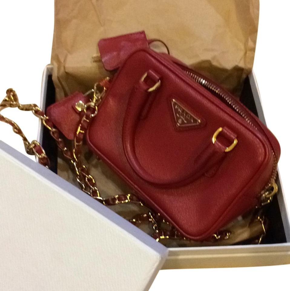 bbc8fb6b0c308c Prada Lux Fuoco Saffiano Leather Mini Cross Body Bag - Tradesy