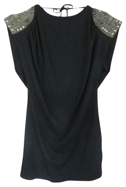 Other Metal Metal Edgy Tunic Metal Sleeves Beaded Metal Beading Tie Tie Tied Beads Studded Top Black