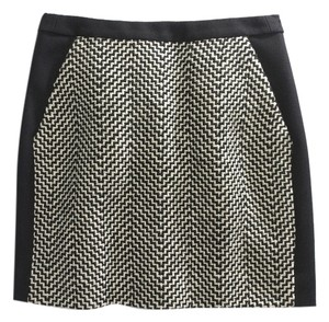 J.Crew Wool Houndstooth Mini Skirt Black