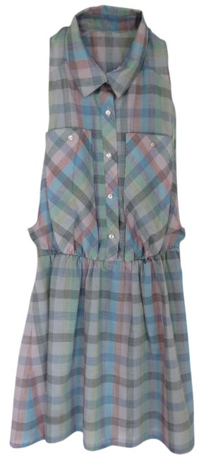 American Apparel Vintage short dress Blue Plaid Pockets Collar Sleeveless No Sleeves Deep Pockets Red Green Button Up Above Knee 70's 70's on Tradesy