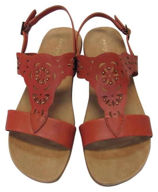 Item - Dark Coral Leather M New Excellent Condition Sandals Size US 7 Regular (M, B)