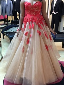 Sherri Hill Red/Nude 11200 Dress
