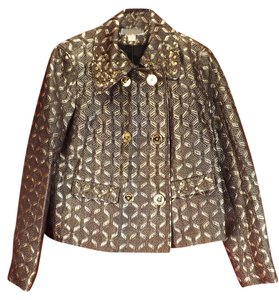 Michael Kors Brocade Lurex Studded Buttons Top GOLD