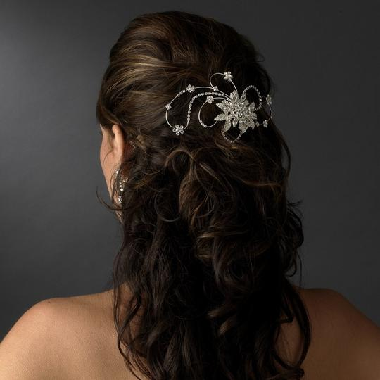 Silver Vintage Crystal Swirl Clip Hair Accessory