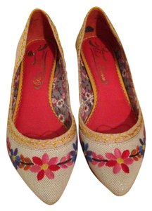 Poetic License Embroidered Floral yellow Wedges