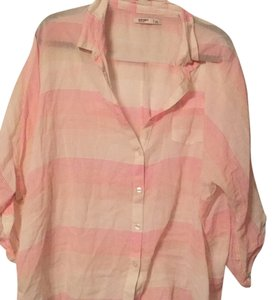 Old Navy Button Down Shirt White, tan, variety of pinks