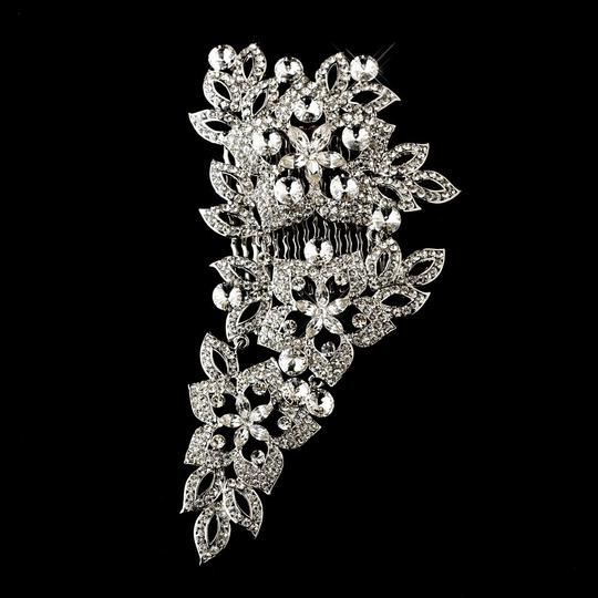 Silver Fabulous Antique Rhinestone Floral Comb Hair Accessory