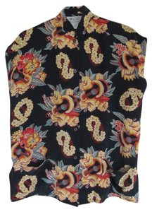 Avanti Retro Silk Top Tropical Print