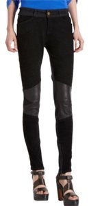 Current/Elliott Moto Jeans Leather Suede Urban Skinny Pants Black