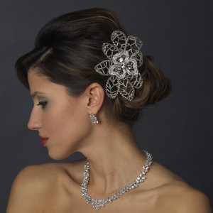 Silver Dazzling Antique Rhinestone Bead Comb Hair Accessory