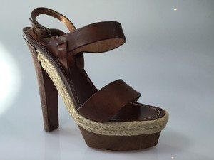 Christian Louboutin Leather Espadrille Heel Brown Sandals