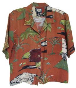 Tommy Bahama Silk Top Tropical Print