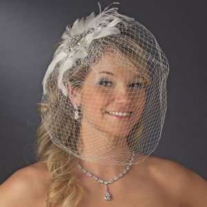 White Or Ivory Vintage Couture Feather Headpiece with Bird Cage Veil Clip In Hair Accessory